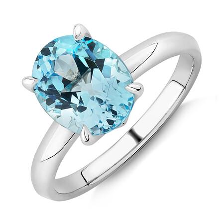 10mm Sky Blue Topaz Ring in Sterling Silver