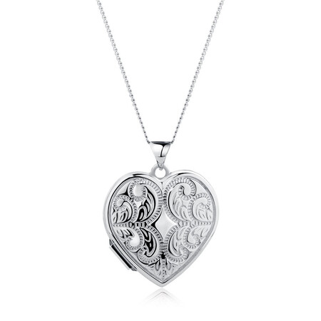 Patterned Heart Locket in Sterling Silver