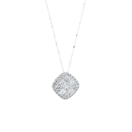 Cluster Pendant with 2 Carat TW of Diamonds in 10ct White Gold