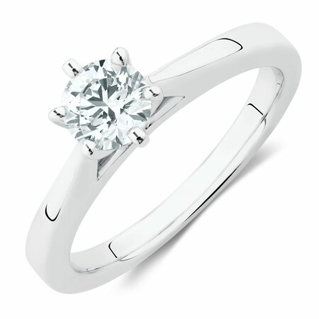 Bridal Solitaire Ring with 0.50 Carat TW of Diamonds in 14kt White Gold