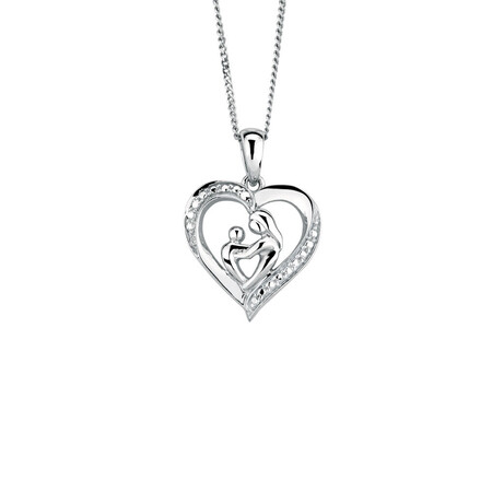Mother & Child Heart Pendant in Sterling Silver