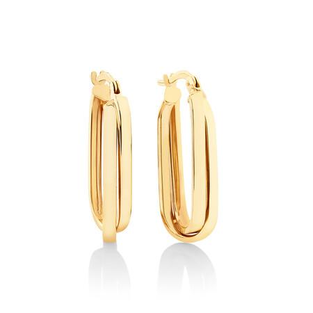 25mm Paperclip Hoop Earrings in 10kt Yellow Gold