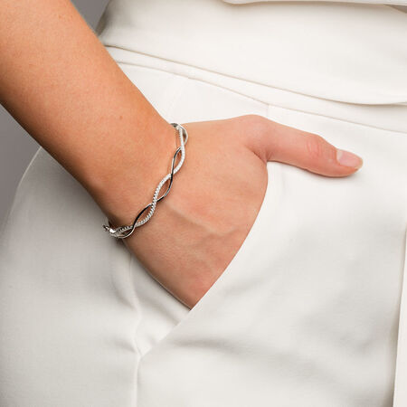 Swirl Bangle with Cubic Zirconia in Sterling Silver