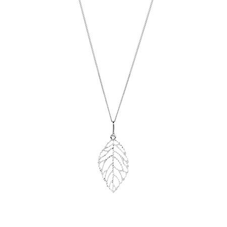 Leaf Pendant in 10kt White Gold