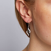 Drop Earrings with Black & White Cubic Zirconia in Sterling Silver
