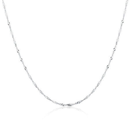"50cm (20"") Hollow Singapore Chain in 10kt White Gold"