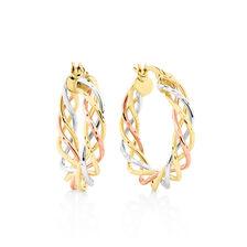 Twist Earrings in 10kt Yellow, White & Rose Gold