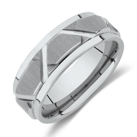 8mm Patterned Ring in Grey Tungsten