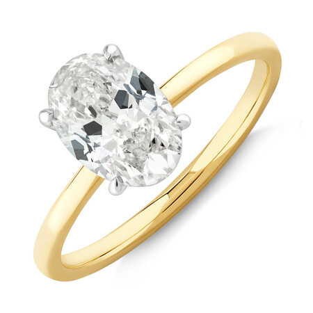 Southern Star Oval Solitaire Engagement Ring with 1.50 Carat TW of Diamond in 18kt Yellow & White Gold