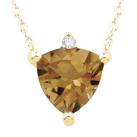 Necklace with Citrine and Diamond in 10kt Yellow Gold