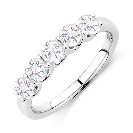 Five Stone Ring with 1 Carat TW of Diamonds in 10kt White Gold