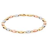 "19cm (7.5"") Fancy Bracelet in 10kt Yellow, White & Rose Gold"