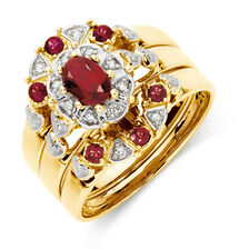 Ring with Created Ruby & Diamonds in 10kt Yellow Gold