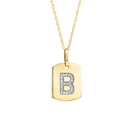"B"" Initial Rectangular Pendant With Diamonds In 10kt Yellow Gold"