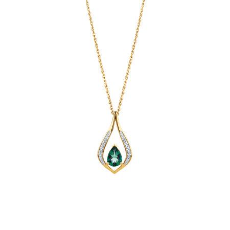 Created Emerald & Diamond Pendant in 10kt Yellow Gold