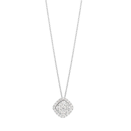 Cluster Pendant with 1 Carat TW of Diamonds in 10kt White Gold