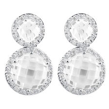 Earring & Enhancer Set with Cubic Zirconia in Sterling Silver