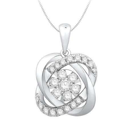 Knot pendant with 0.38 Carat TW of Diamonds in 10kt White Gold