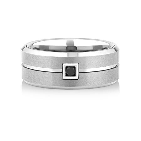 Men's Ring with an Enhanced Black Diamond in Grey Sapphire Tungsten