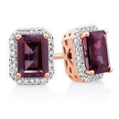 Stud Earrings with Rhodolite Garnet & 0.15 Carat TW of Diamonds in 10kt Rose Gold