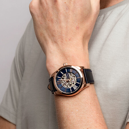 Men's Watch in Rose Tone Stainless Steel & Navy Leather