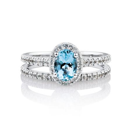 Bridal Set with 1/2 Carat TW of Diamonds & Aquamarine in 14kt White Gold