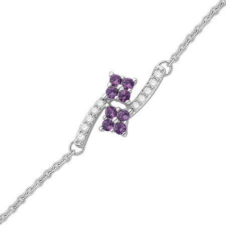 Bracelet with Created Pink Sapphire and Diamond in Sterling Silver