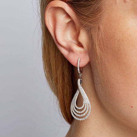 Drop Earrings with 2 Carat TW of Diamonds in 14kt White Gold