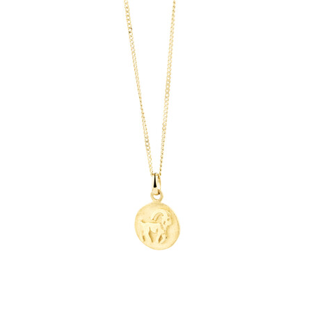 Capricorn Zodiac Pendant In 10kt Yellow Gold