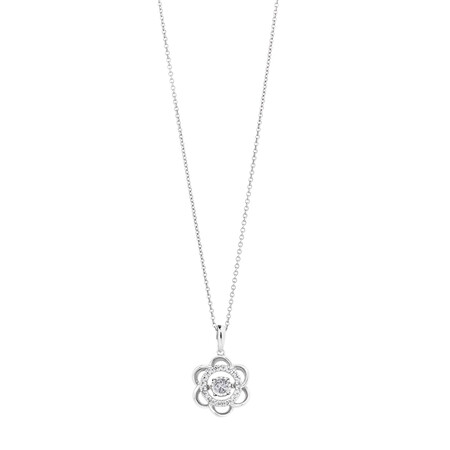 Flower Pendant with 0.15 Carat TW of Diamonds in Sterling Silver