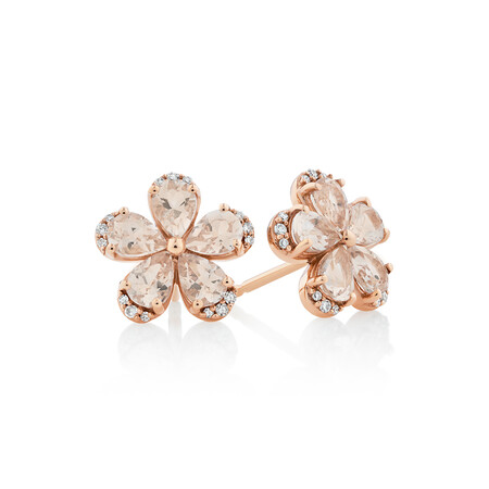 Flower Stud Earrings with Morganite & Diamonds in 10kt Rose Gold