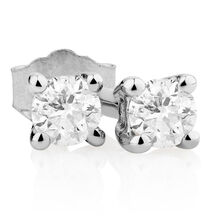 Classic Stud Earrings with 0.085 Carat TW of Diamonds in 10kt White Gold