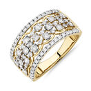 Multi Row Ring with 1 Carat TW of Diamonds in 10kt Yellow Gold