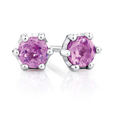 Stud Earrings with Created Pink Sapphire in Sterling Silver