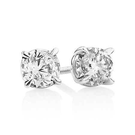 Stud Earrings with 0.80 Carat TW of Diamonds in 10kt White Gold