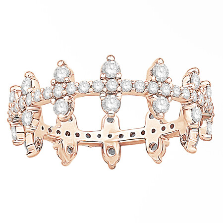 Zipper Ring with 1.00 Carat TW of Diamonds in 10kt Rose Gold