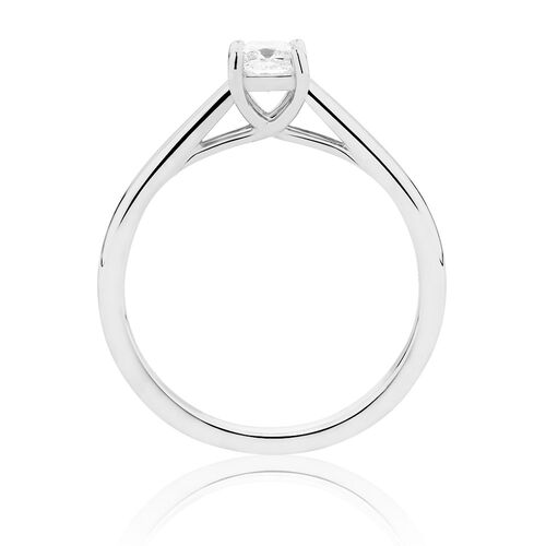 Ideal Cut Solitaire Engagement Ring with a 0.30 Carat Diamond in 14kt White Gold