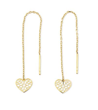 Heart Threader Earrings in 10kt Yellow Gold
