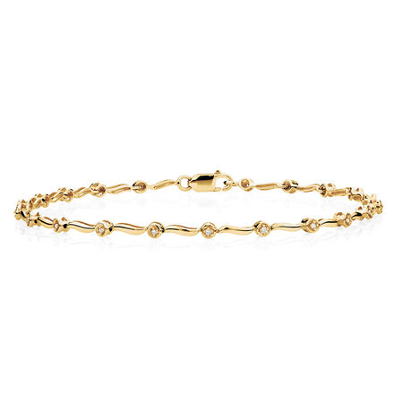 Tennis Bracelet with Diamonds in 10kt Yellow Gold
