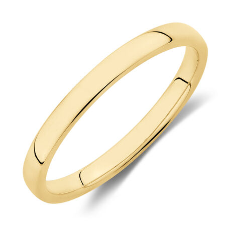 High Domed Wedding Band in 10kt Yellow Gold