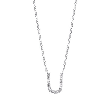 """""""U"""" Initial necklace with 0.10 Carat TW of Diamonds in 10kt White Gold"""
