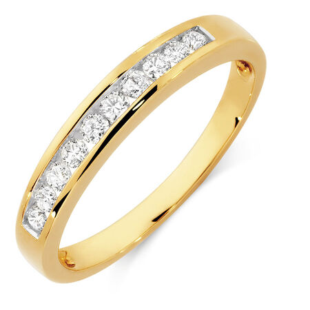 Wedding Band with 1/4 Carat TW of Diamonds in 10kt Yellow Gold