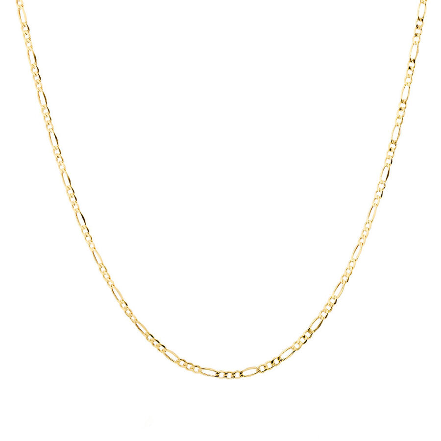 """70cm (28"""") Hollow Figaro Chain in 10kt Yellow Gold"""