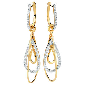 Drop Earrings with 1/2 Carat TW of Diamonds in 10kt Yellow Gold