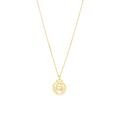 Cancer Zodiac Pendant with Chain in 10kt Yellow Gold