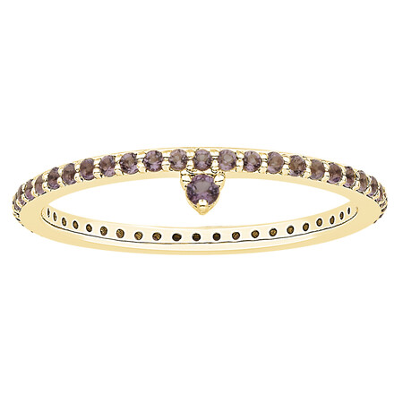 Stacker Ring with Amethyst in 10kt Yellow Gold