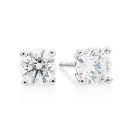 Laboratory-Created 1 Carat Stud Earrings in 14kt White Gold