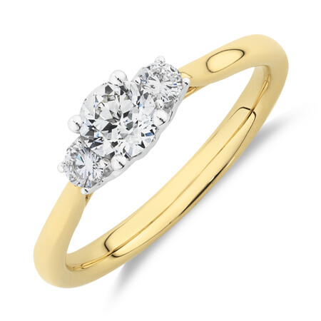 Southern Star 3 Stone Engagement Ring with 0.58 Carat TW of Diamonds in 14kt Yellow & Gold
