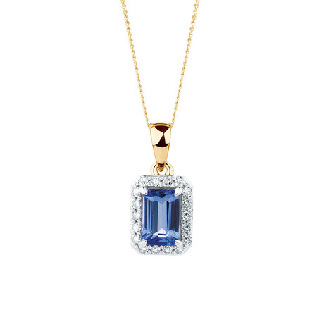 Pendant with Tanzanite & Diamonds in 10kt Yellow & White Gold