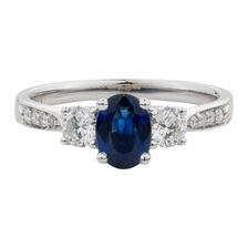 Online Exclusive - Ring with 0.51 Carat TW of Diamonds & Sapphire in 14kt White Gold